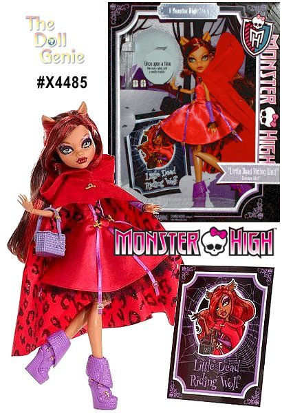 Enjoy hours of spooky fashion fun with Clawdeen Wolf from Monster High.  This stylish teenaged werewolf looks lovely in a classic Little Red Riding Hood costume, complete with basket and a hairbrush. This stylish vampire comes with high-heeled shoes that perfectly match her dress and purse. She even has her own brush, so you can fix up her long black and pink tresses for school, dates or any other activity she'd like to sink her teeth into.