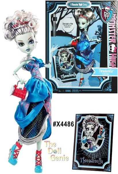 This Monster High Scarily Ever After Frankie Stein as Threaderella doll comes wearing a patchwork off-the-shoulder gown with one short blue sleeve and a silver sash across the left side of her neck. The gown has a red plaid over blue bodice, and the skirt is tiered layers of blue, red plaid, and black mesh. Her look also features silver needle earrings and a red thread spool purse. Frankie also comes with a hair brush and a Threaderella story book. The shoes are blue pumps with silver scissor heels and red laces up the ankles. Frankies skin is light green with stitching details around her body and bolts in her neck. One eye is green and the other is blue. She has blue eyeliner accented with silver eyeshadow. Her lipstick is silver. Frankie's hair is in a tousled, curly up-do. Her hair is white with black high- and low-lights. Perched on her head is a silver, red, and blue tiara.