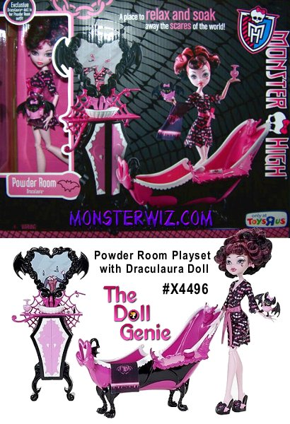 Monster High Draculaura Powder Room Playset: Draculaura can primp for hours with her new vanity complete with a vampire mirror, toiletries (Draculaura uses fang-paste) and monogrammed towel. The black-and-pink claw-foot tub is to die for and the perfect spot for Draculaura doll to relax and boo-tify with her pet Count Fabulous, who comes wearing an (attached) pink robe to match Draculaura's! This set includes one exclusive Draculaura doll designed specifically for the Powder Room!