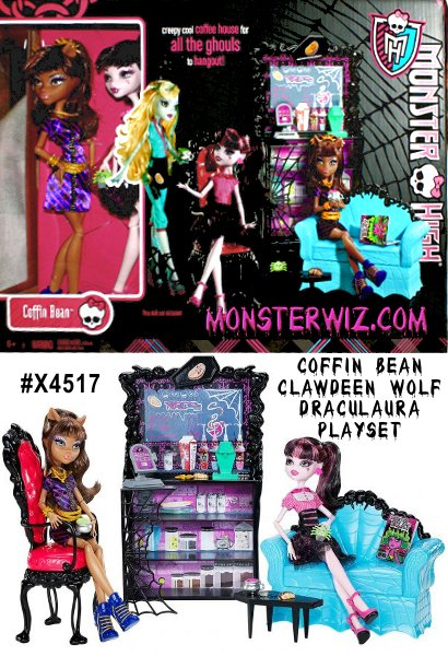 This Monster High Coffin Bean Playset includes Clawdeen Wolf & Draculaura Dolls, couch, chair and coffee table for the Coffin Bean Coffee House. Coffin Bean Coffee House is the place to haunt out with your best friends from Monster High.