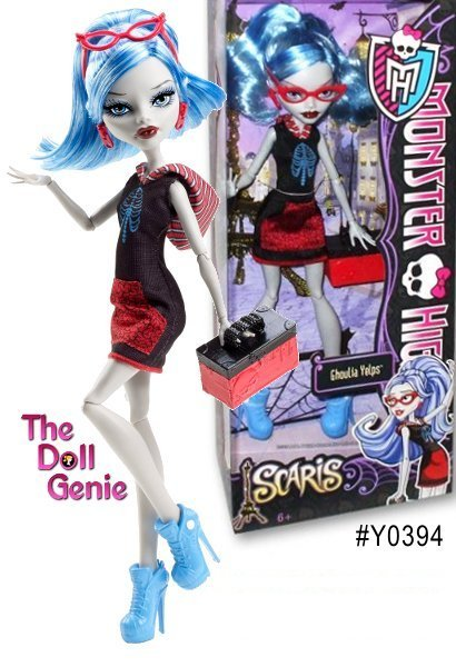 The ghouls of Monster High are hitting the skies for their first trip abroad together in monster style! Their destination is the infamous hometown for Rochelle Goyle. Ghoulia Yelps wears a red-and-black dress with striped hood and ribcage decal  and comes with a trendy travel bag! Also includes hair brush and doll stand for picture-perfect snapshot poses.