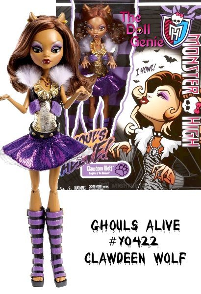 For the first time ever, the ghouls of Monster High are brought to life. It must be a full moon, since Clawdeen Wolf doll tilts her head back, closes her eyes, and howls at the sky with her arms in the air  with the push of a lever on her back! Plus, she wears the fiercest fashions, including a purple vest, gold top, and sparkly skirt! Clawdeen features a creepy-cool howling motion and sound when you push the lever on her back. She wears a vest with faux fur, gold top with animal print, and a sparkly skirt with tulle accents and completes her outfit with the ultimate kickin' boots. Clawdeen is fully articulated, so she can be posed in many different ways