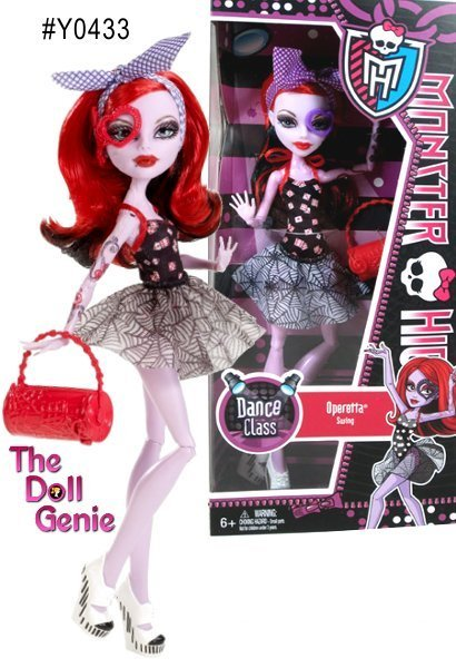 Monster High's Operetta is ready to swing dance! She will rock her dance class and the club floor in these frightfully trendy fashions! She looks ultra fierce with her black-and-red printed bodice, spider-web skirt, and matching dance bag!