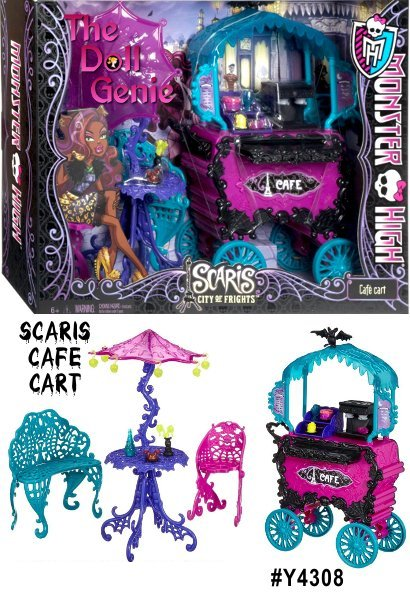 The ghouls of Monster High are hitting the skies for their first trip abroad together in monster style. Their destination is Scaris, the city of lights and hometown for Rochelle Goyle, and they plan to see it all. When the gang is ready to rest, the Caf is the perfect place to fang out. The ghouls can sip Scarrier and munch on pastries. Caf set includes the Scary Caf, vendor cart, table with umbrella, bench, chair, coffee maker, pastry shelf, flower vase and assorted snacks and drinks.