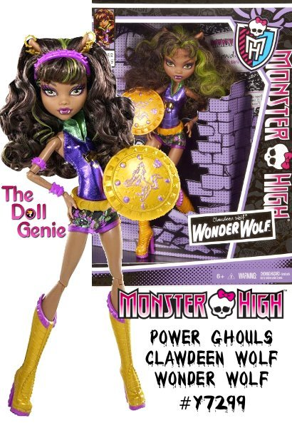 Clawdeen is Wonder Wolf - A Howling Force for Justice. According to her bio on the back of the box she is super strong, super fast, and super fashionable. Purple is Clawdeens color and Wonder Wolfs superhero costume is a fitted metallic purple sleeveless top with oversized green metallic collar. She has comic book pow patterned short shorts. Her accessories include matching gold star burst earrings, gold belt, gold and purple super heroine boots, a purple tiara headband and best of all - her heroic weapon is a gold shield with a purple wolf on the front. Wonder Wolf is a brunette with lime green streaks in her long curly hair. She has beautiful golden eyes that are accented by her gold and eggplant colored eye makeup. She is a wolf girl so her pointed ears are on display and her nails are shaped into claws.