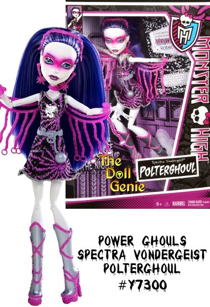 Monster High Power Ghouls Spectra Vondergeist is a must-have doll for your Monster High fan. The ghouls arent staying home this Halloween. Theyre going out and celebrating their individuality. When this Polter Ghoul decides to be a superhero, she will scare-y the day. This articulated Spectra doll wears a fangtastic outfit complete with accessories and sparkles, and she comes with a journal or sketchbook, a hairbrush and a doll stand.