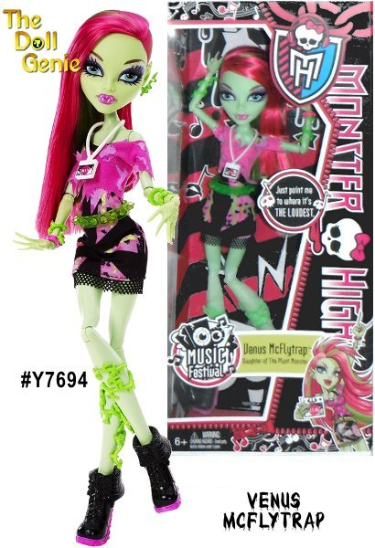 Monster High Music Festival Venus McFlytrap Doll: Ghouls like to groove and a music festival is sure to be a howling good time, especially with backstage passes. Each of these Monster High music-lovers is dressed to express her favorite musical genre. Venus McFlytrap doll will draw others in with her with her hip