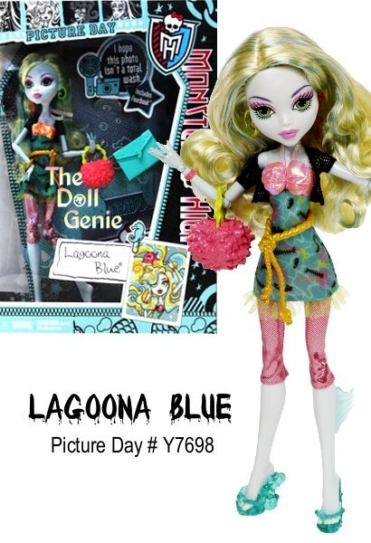 Monster High Picture Day Lagoona Blue Doll - The ghouls of Monster High are glamming it up for picture day with freaky fabulous looks! Armed with their Fearbook journals and picture day stickers, they can swap, trade and store the photographic memories. Lagoona Blue sports a fiercely fashionable new outfit incorporating details and accessories that celebrate her unique personality and style. She carries a purse and comes with a notebook, hairbrush, doll stand and Fearbook journal with picture day stickers.