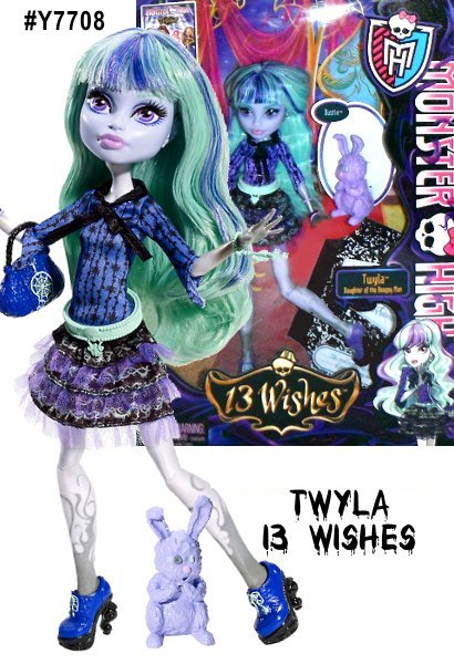 Monster High Twyla, Daughter of the Boogie Man, is not what she seems. Often shy and misunderstood, she hides under normies' beds to capture their nightmares rather than adding to them like her dad. It's spook-tacular entertainment. Doll comes with pet, diary, brush, doll stand and character-specific accessories. Each sold separately, collect them all.
