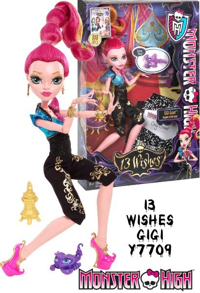 GiGi Grant is the daughter of the Genie.  She tends to be a bit claustrophobic, maybe because she was stuck in a lantern for millennia.  Can the Monster High gang save Howleen from the genie and the dark side of the 13 wishes? GiGi Grant comes with her pet scorpion Sultan Swing.