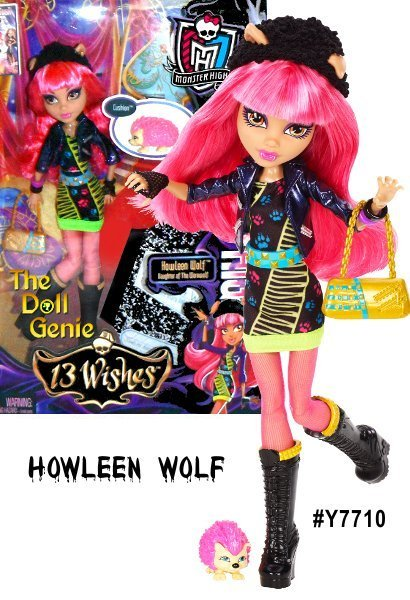 Monster High 13 Wishes Howleen Wolf doll finally steps out of her sister Clawdeens shadow with a clawesome new look, in an animal print dress, colorful accents and hip accessories, including mesh fingerless gloves and tall black lace-up boots