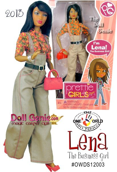 Lena is an African American Doll. She is fun, fresh, confident, exciting and has made being smart cool! Her friends call her The Wiz Kid because whatever she puts her mind to, she will come out on top! A straight A student, spelling bee champ, and top fundraiser on the cheerleading squad, Lena always finds time to help her friends with their homework & class projects. Setting goals is key, next move: Class President. An up and coming entrepreneur, you better believe the next big invention will be Lenas! She comes with a fashion, purse, necklace, bracelets and shoes.