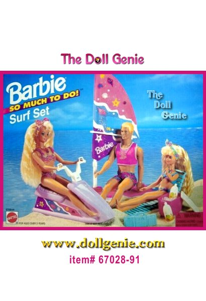 This playset does not come with any dolls. Playset includes a Jetski, a Windsurfer, a Beach Chair, Soda Bottles (pretend) and a Portable Radio