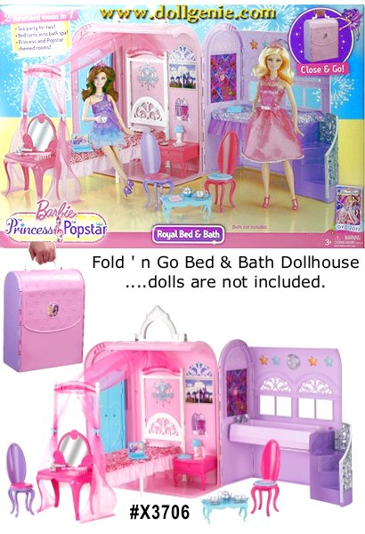 Its the ultimate in friendship and house play with the perfect play set for two! Based on the 2012 Barbie movie, Barbie the Princess and the Popstar, this fold-out Barbie Princess and the Popstar Princess Playset has double the fun with beds for both girls, seating for the pair and a tea set for two. A shared wardrobe (with hanger) and vanity (with accessories) are perfect for sharing clothes and beauty tips. And for added charm, the Popstar bed magically transforms into a bathtub! When all the fun is done, the set folds up for portable on-the-go convenience! Includes a Princess bed with canopy, a Popstar bed that turns over to reveal a bathtub, 2 bed quilts and a pillow, a closet with hanger, a vanity with mirror, a tea table and 2 chairs, 2 tea cups and a tea pot, an alarm clock, a lamp, a hair dryer, a brush and a laptop. Dolls not included.