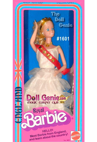 Special Edition - The first doll in this ever-popular international series, Royal, U.K. Barbie looks like a queen for a day. Her white gown consists of a sleeveless, fitted top, and then a series of cascading white ruffles. A red sash and golden crown denote her royal status