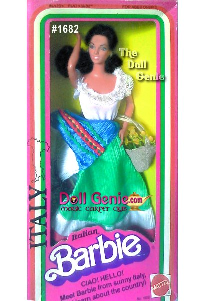 Italian Barbie looks perfectly patriotic in this delightedly colorful ensemble. Her red, white, and green skirt match the colors of her nations flag. A blue apron with white fringe adds an extra dash of color, as do her red shoes. Rounding out this wonderful ensemble are a matching straw hat and purse.