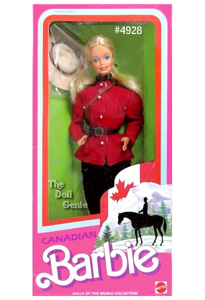 Hello and Bonjour from Canada, your neighbor to the north! Canadian Barbie doll is dressed in a typical Canadian Mountie uniform. Her red jacket is inspired by Canada's national symbol  the red maple leaf. Her black puffy pants are accented with golden trim, and tucked into black boots. She wears a wide-brimmed Mountie hat, under which her long blond hair falls over her shoulders.