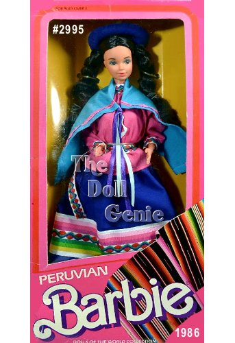 Peruvian Barbie doll wears an authentic Peruvian costume in vibrant pink, blue, and green fabric. Her pink blouse is accented at the waist by a decorative belt. Barbie wears two skirts - a dark blue one over a green one to protect her from the cold climate. A light blue shawl drapes over her shoulders. Her pink slip-on shoes and blue hat complement this ensemble, as does her long brown braided hair. The flowers on her hat are a Peruvian symbol that shes looking for a husband.
