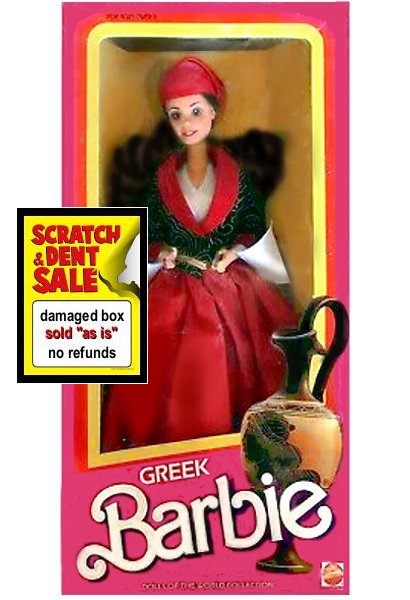 Special Edition - Say yah-soo, or hello, to Greek Barbie doll. She is ready for a night of dancing in her traditional Greek ensemble. Her floor-length red skirt is trimmed with golden accents. Over her white blouse, Barbie wears a fitted black jacket with red collar and cuffs. Her hair is pulled back, and topped with a red cap.