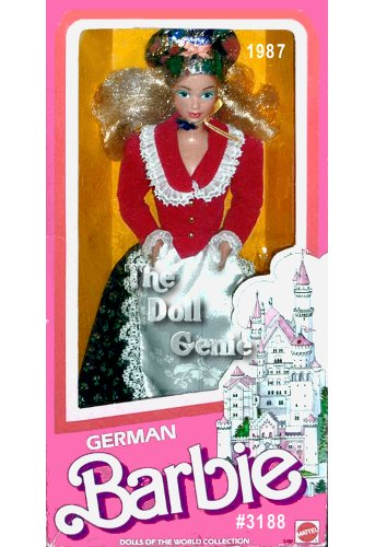 German Barbie doll is ready for Oktoberfest, a celebration filled with dancing, singing, and wonderful food. Her traditional folk costume consists of a long, flowing skirt, white apron, and red jacket with white trim and golden buttons. She also wears lacy white stockings with black shoes. Let the celebration begin!