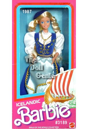 Special Edition - Most of Icelandic Barbie dolls ancestors were Vikings from Norway, and her costume reflects that influence. She wears a blue jumper dress known as a bunad. A light blue apron, trimmed with golden braiding, is tied around her waist. Her crisp, white blouse features beautiful pouffed sleeves. Icelandic Barbie doll wears long braids, very common in both Norway and Iceland, which are topped by a round blue cap with a golden tassel on her head.
