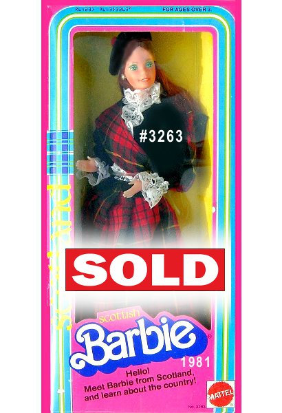 Special Edition - Welcome to Scotland, a land of beautiful people, places, and lots of plaid! Scottish Barbie doll wears a long plaid skirt, a black jacket trimmed with white lace, and a matching plaid sash across her chest. Her dark hair is pulled back, and crowned with a black beret-style hat with red pom-pom.