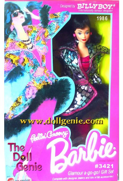 Contents include a black haired, lavender-eyed Barbie doll, mini dress, long skirt, long gloves, fur-trimmed sparkly coat, necklace, black sunglasses, shoulder bag, stud earrings, drop earrings, panties, glittery shoes, travel case with luggage tag, brush, hair dryer, camera, hanger, label and package cut outs.