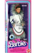Special Edition - Eskimo Barbie doll is ready to brave the cold weather in her faux fur-trimmed outfit. Shes a mirage of beauty, dressed from head to toe in white fabric accented with black trim and fringed-style fur.
