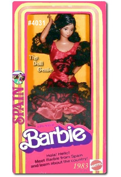 Hola (hello) from Spain! Spanish Barbie doll wears a traditional dress for dancing, with the ruffled layers of red fabric trimmed in black lace. The front is short so she can dance freely. The flowing train in back allows Barbie to pick it up and swing it about while she dances. Spains native dances include the sardana and the famous flamenco with lots of clapping and foot-stomping. Doll cannot dance.