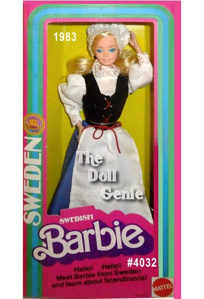 Swedish Barbie doll wears a traditional blue jumper dress with red trim called a bunad. Over her dress is a crisp white apron accented with white lace, and tied with red ribbon. Her white blouse features beautiful pouffed sleeves and a ruffled collar. She has a matching white bonnet over her blond hair.