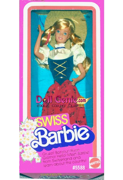 Swiss Barbie dolls costume reflects the influences of the many European countries surrounding Switzerland including Germany, Austria, France, and Italy. The top half of her dress is a fitted bodice of blue and white, with puffy sleeves. Her skirt is red with a flower print. She also wears white socks and black shoes. Her braided blond hair is topped with a wide-brimmed sun hat with blue ribbon and a red flower.