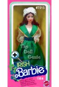 Special Edition - Irish Barbie doll is from the lush Emerald Isle west of England. She wears an exquisite costume - a green skirt, a long sleeved fitted white lace blouse with attached green shawl draped about her shoulders with golden trim. Her long flowing hair falls delicately around her face, and is crowned by a white cap with lace trim.